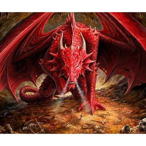 Angry Red Dragon 5D DIY Paint By Diamond Kit - Paint by Diamond