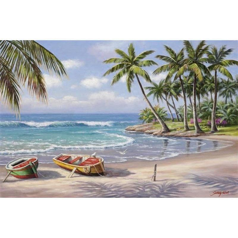 Coconut Sea Tree 5D DIY Paint By Diamond Kit