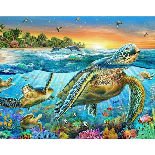 Sea Turtles 5D DIY Paint By Diamond Kit