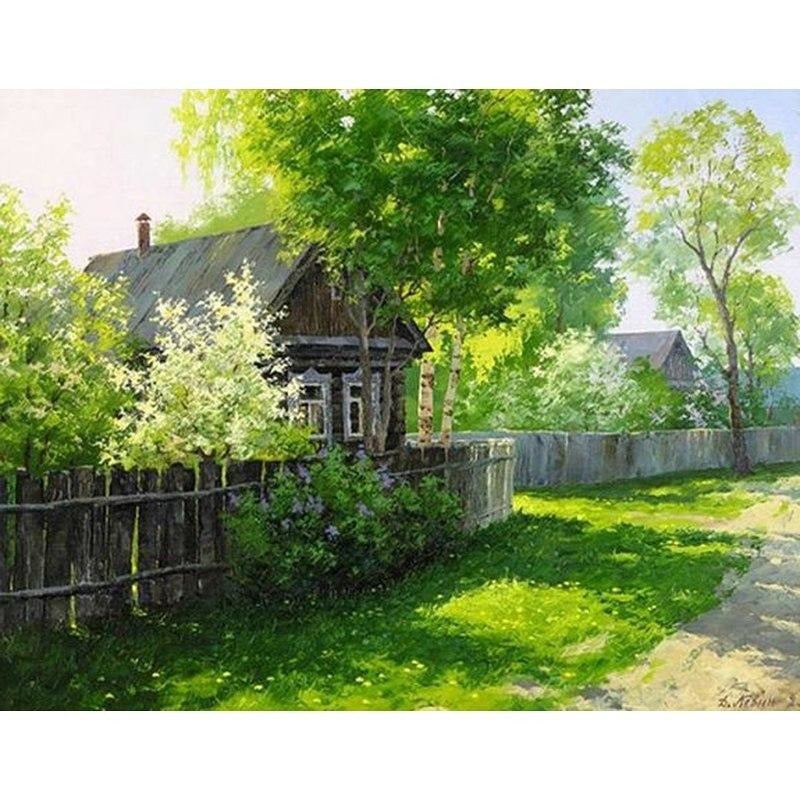 Beautiful Village House 5D DIY Paint By Diamond Kit - Paint by Diamond