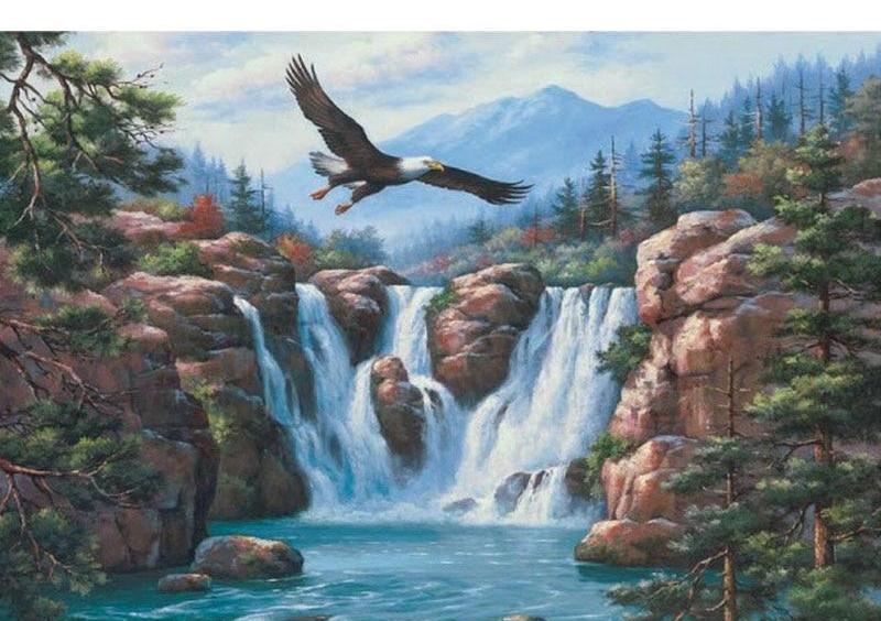 Eagle Falls Scenic 5D DIY Paint By Diamond Kit
