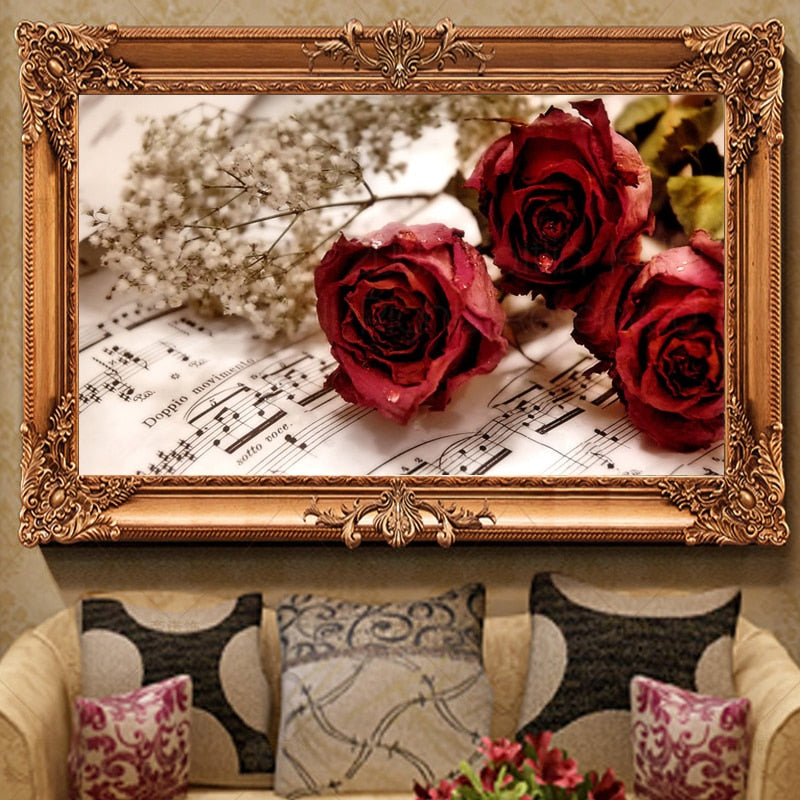 Music & Roses 5D DIY Paint By Diamond Kit