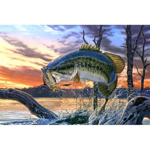 Bass Fishing Lake Sunset 5D DIY Diamond Painting