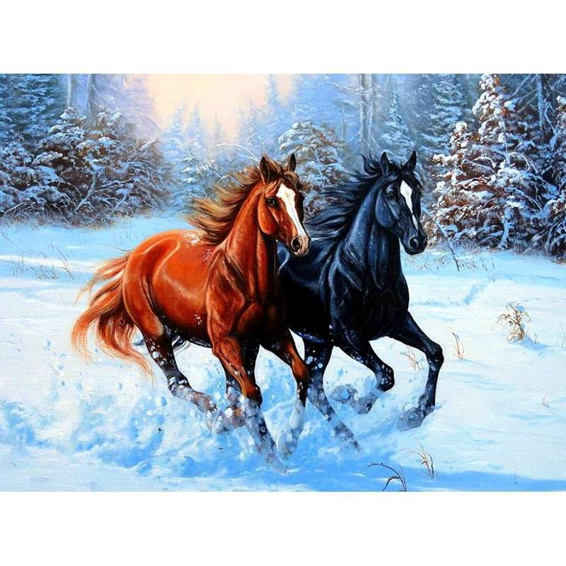 Two Snow Horses 5D DIY Paint By Diamond Kit - Paint by Diamond