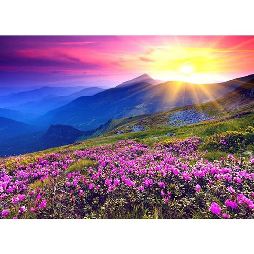 Purple Flower Landscape 5D DIY Paint By Diamond Kit - Paint by Diamond
