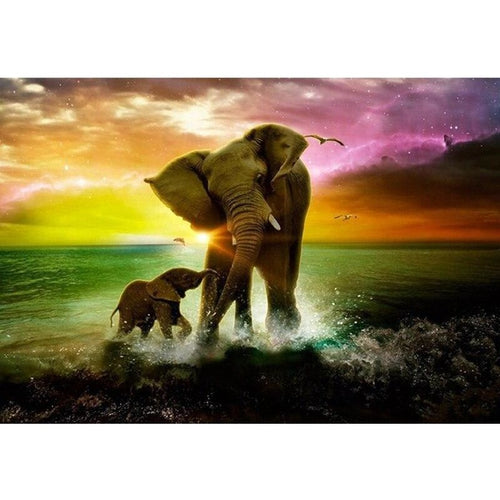 Elephant Family 5D DIY Paint By Diamond Kit - Paint by Diamond