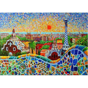 "5D DIY Diamond Painting ""Spain Sunrise"" Embroidery Full Square Diamond Cross Stitch Rhinestone Mosaic Painting Home Decor Gift - Paint by Diamond"