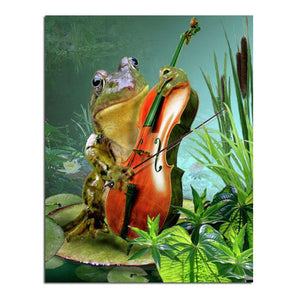 Frog Violin 30x40 5D DIY Paint By Diamond Kit - Paint by Diamond