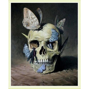 Skull & The Butterflies 5D DIY Paint By Diamond Kit