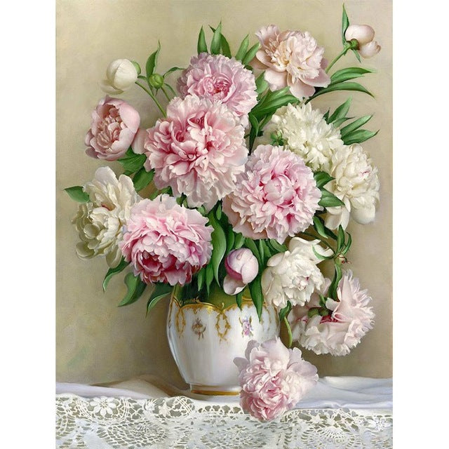 Beautiful Peony Flowers 5D DIY Paint By Diamond Kit - Paint by Diamond