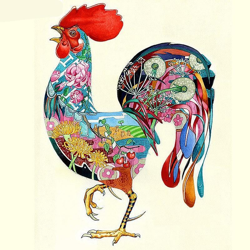 Flower Roosters 5D DIY Paint By Diamond Kit