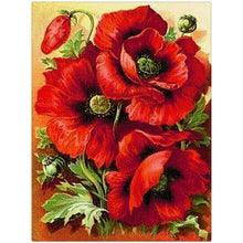 Red Flowers 5D DIY Paint By Diamond Kit