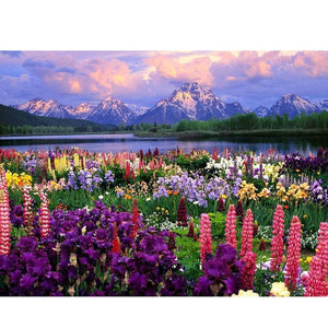 Snow Capped Mountains & Flowers 5D DIY Paint By Diamond Kit - Paint by Diamond