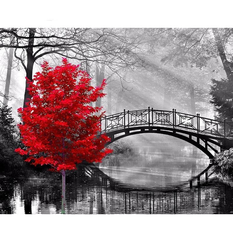 Red Tree and Bridge 5D DIY Paint By Diamond Kit - Paint by Diamond