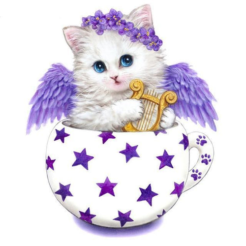 Angel Cartoon cat 5D DIY Paint By Diamond Kit - Paint by Diamond