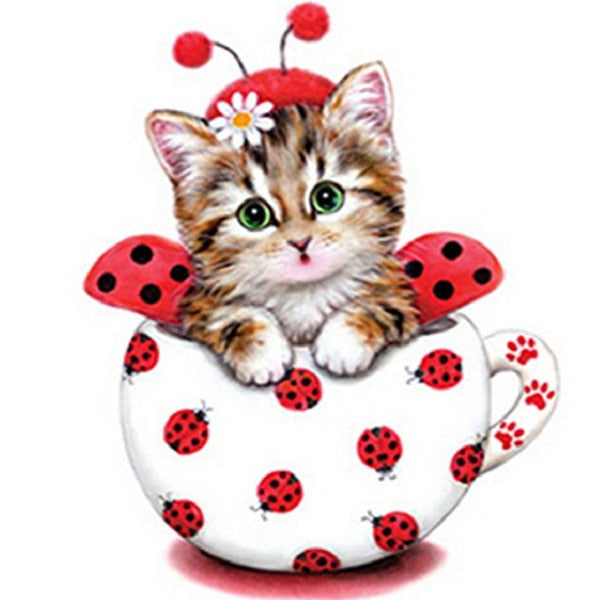 Beetle Cartoon cat 5D DIY Paint By Diamond Kit - Paint by Diamond