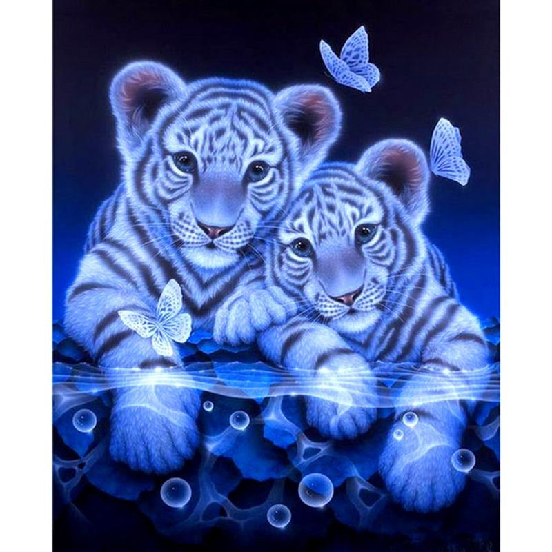 Tigers & Butterfly 5D DIY Paint By Diamond Kit - Paint by Diamond