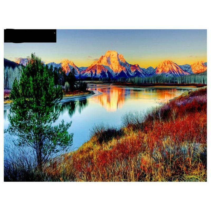 5d diy diamond painting cross stitch kit Diamond embroidery landscape RIVER mountain picture diamond mosaic pattern gift - Paint by Diamond