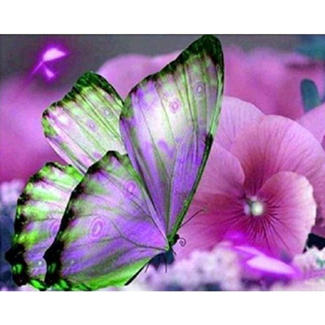 Butterfly Purple Gift 5D DIY Paint By Diamond Kit - Paint by Diamond
