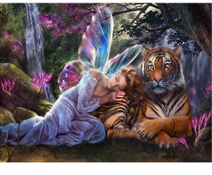 Fairy With Tiger 5D DIY Paint By Diamond Kit