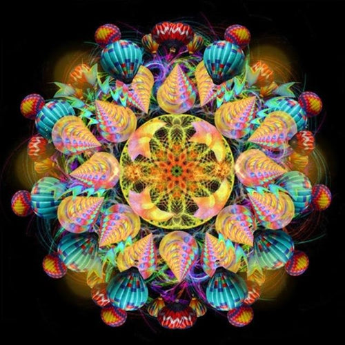 Religious Mandala Glow 5D DIY Paint By Diamond Kit - Paint by Diamond