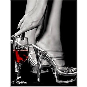 Wine And High Heel 5D DIY Paint By Diamond Kit - Paint by Diamond