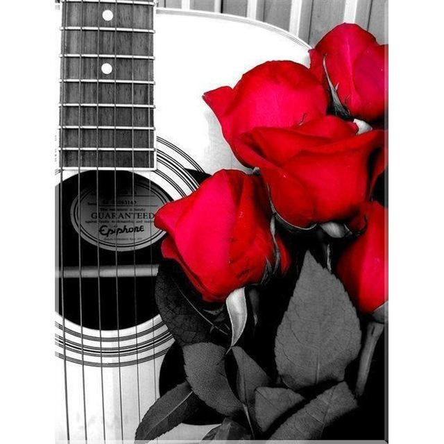 Roses & Guitar 5D DIY Paint By Diamond Kit - Paint by Diamond