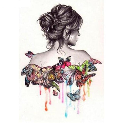 Beautiful Butterfly girl 5D DIY Paint By Diamond Kit