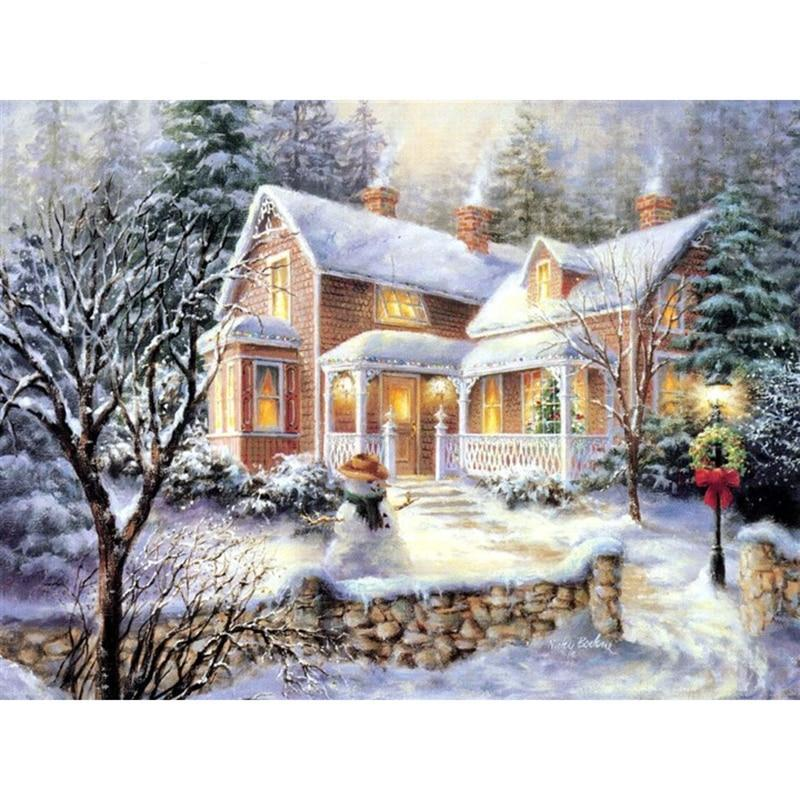 Christmas Snow Scenic Paint By Diamond Kit