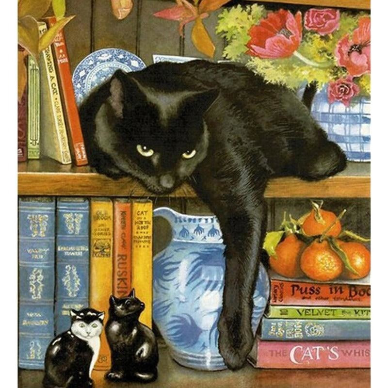 Black Cat On The Book Shelf 5D DIY Paint By Diamond Kit - Paint by Diamond