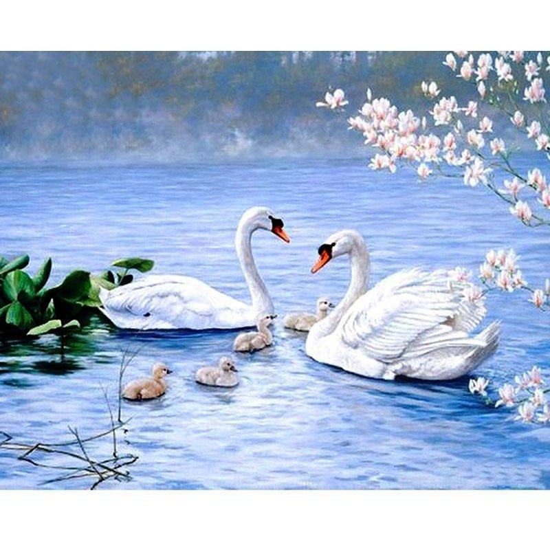 Happy Swans In The Lake 5D DIY Paint By Diamond Kit - Paint by Diamond