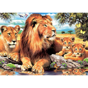 Lion Family 5D DIY Paint By Diamond Kit
