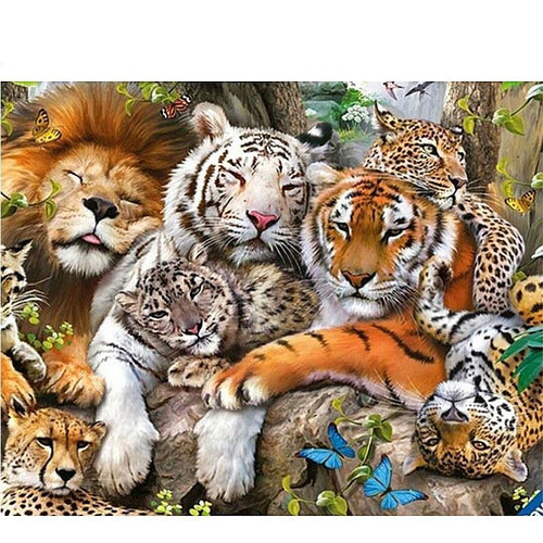 The Big Cat Family 5D DIY Paint By Diamond Kit - Paint by Diamond