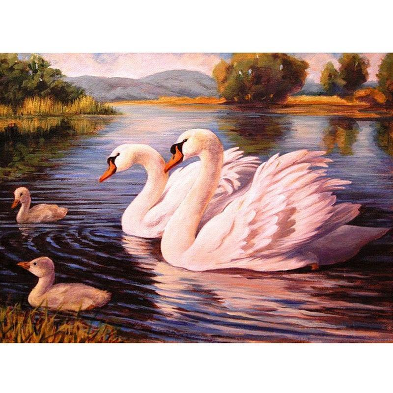 Double Swans 5D DIY Paint By Diamond Kit - Paint by Diamond