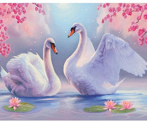 Two White Swans 5D DIY Paint By Diamond Kit