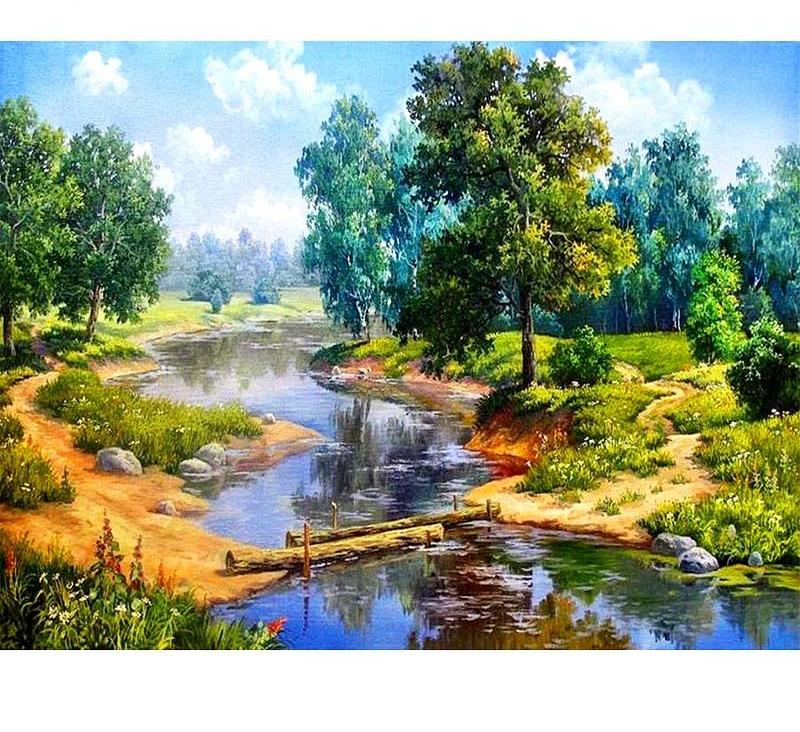 Forest Lake Scenery  5D DIY Paint By Diamond Kit - Paint by Diamond