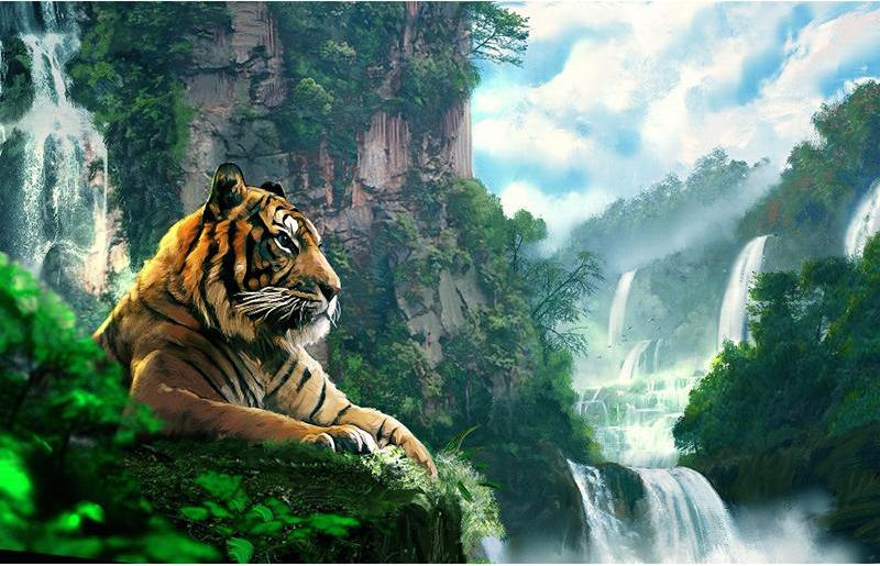 Tiger & Nature 5D DIY Paint By Diamond Kit