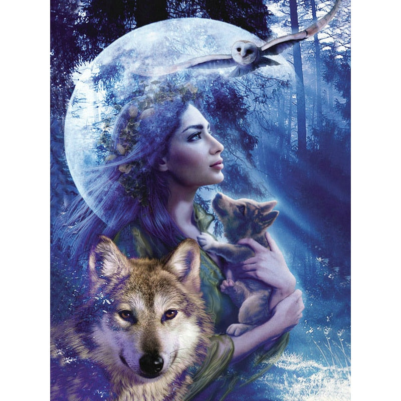 Woman With Wolf  5D DIY Paint By Diamond Kit - Paint by Diamond
