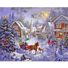 Christmas Snow Castle 5D DIY Paint By Diamond Kit