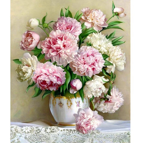 Pretty Peony Floral 5D DIY Paint By Diamond Kit - Paint by Diamond