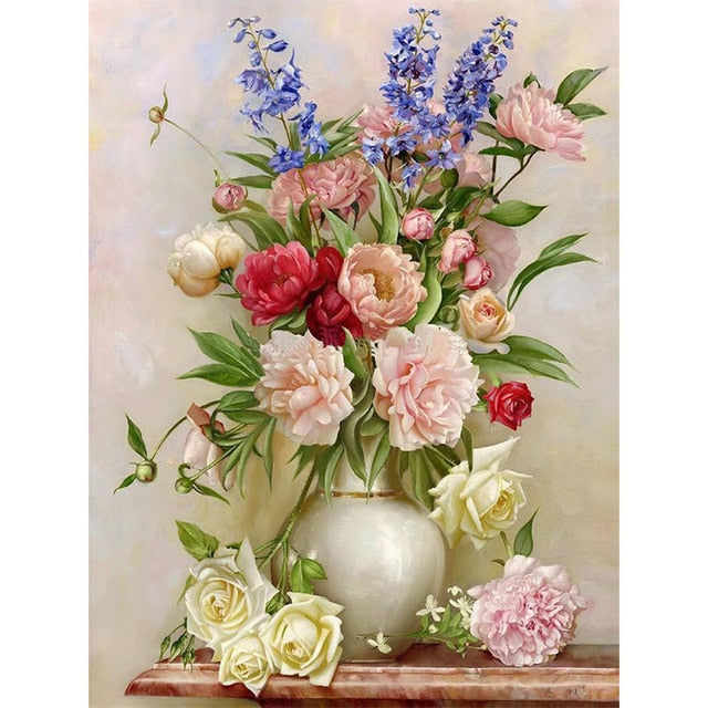 Beautiful Flower Vase 5D DIY Paint By Diamond Kit