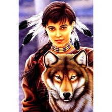 Indian Woman & Wolf 5D DIY Paint By Diamond Kit