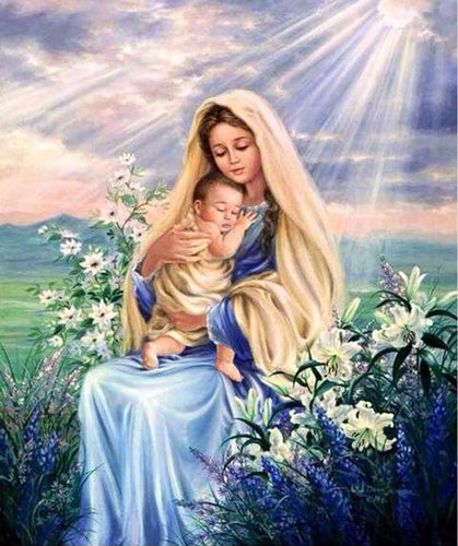 Mother Mary & Baby Jesus 5D DIY Paint By Diamond Kit