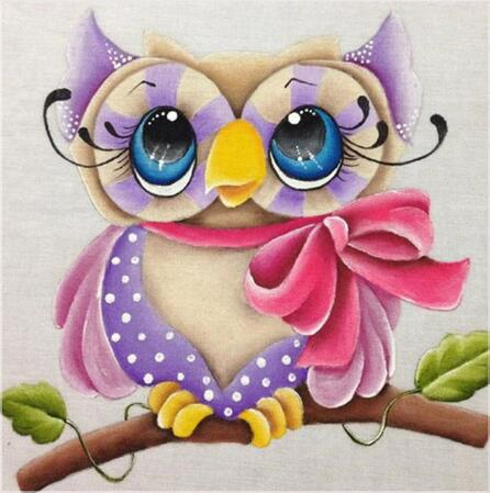 Small Purple Owl 5D DIY Paint By Diamond Kit - Paint by Diamond