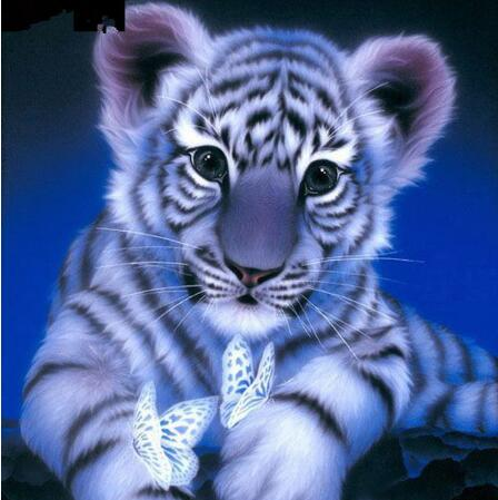 White Tiger Cub 5D DIY Paint By Diamond Kit