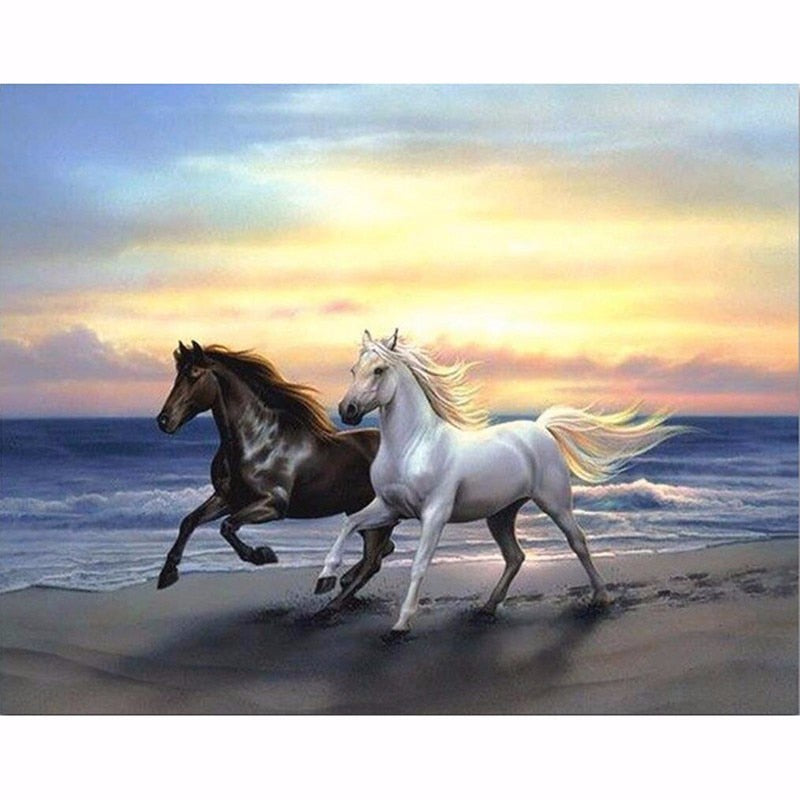 Two Beautiful Horses 5D DIY Paint By Diamond Kit - Paint by Diamond