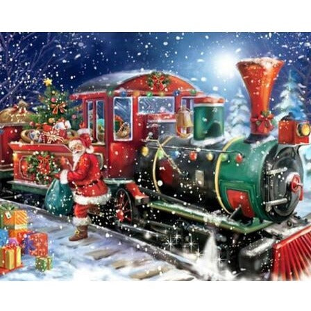Train In Snow Christmas 5D DIY Paint By Diamond Kit - Paint by Diamond