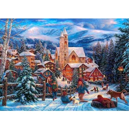 Lit Christmas Town 5D DIY Paint By Diamond Kit - Paint by Diamond