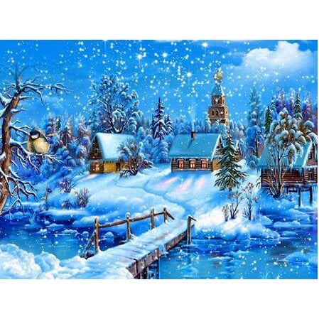 Snow Town 5D DIY Paint By Diamond Kit - Paint by Diamond