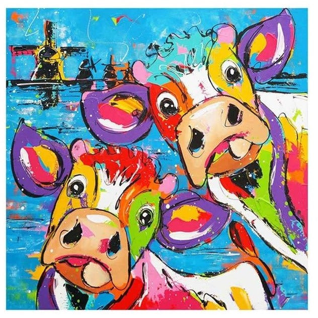 Cartoon Colorful Cows' Stare 5D DIY Paint By Diamond Kit - Paint by Diamond